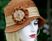 Womens 20s Fabric Cloche Hat Downton Abbey Style in Cinnamon Brown Floral Tapestry  Gold Trim