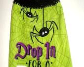 Spider Hanging Towel - Halloween Spider Towel - Crochet Top Towel - Drop In For A Bite - Plush Towel - Black Spider Towel - Dish Towel