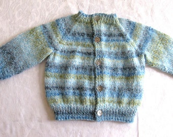 infant hand knit sweater, 6 - 12 mos size, Blue striped sweater, cardigan, button front, boy girl gender neutral