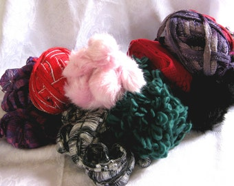 Boutique yarn grab bag, 5 full balls of new yarn, destash