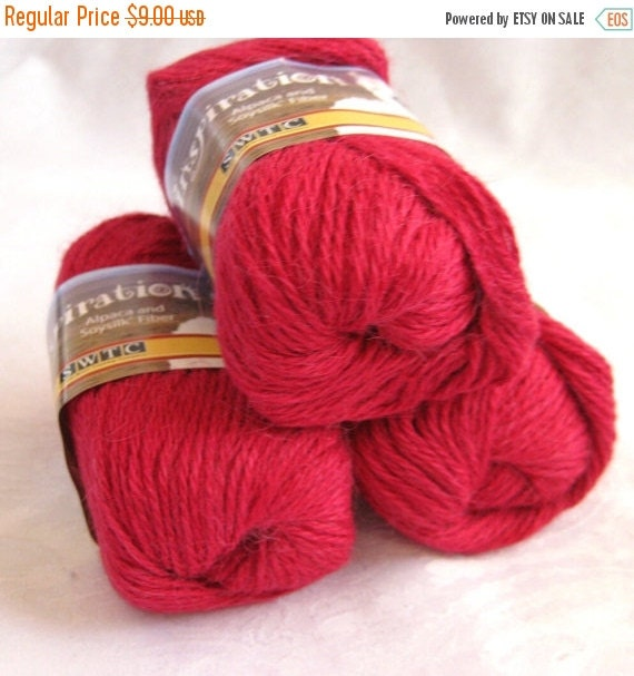 50% off - Brilliant RED alpaca blend yarn, worsted weight,  SWTC Inspiration  Music (390)
