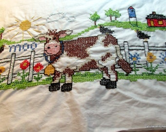 Hand Embroidery Mrs Cow Pillow Case