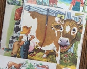 Life on a Dairy Farm Vintage Cow Collage, Scrapbook and Planner Kit Number 2093