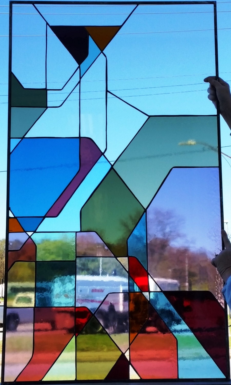 Stained glass window Geometric Forms W-99