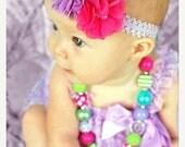 SALE Baby Girl Headband - Newborn Baby Headband -  Hot Pink and Lavender Headband - Girl Headband - Photography Prop