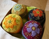 Boxed Set of 4 Embroidered Wool Pincushion Ornaments/Decorative Orbs