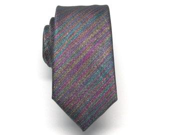 Mens Ties Necktie Metallic Lamé Rainbow Purple Teal Gold Metallic Skinny Tie