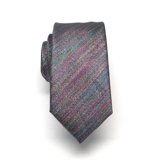 mens ties necktie metallic lam 233 rainbow purple teal gold