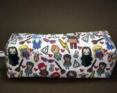 Boxy Makeup Bag- Harry Potter Cast Doodle- Pencil Pouch - Hermione Granger, Ginny & Ron Weasley, Severus Snape, Rubeus Hagrid, Luna Lovegood