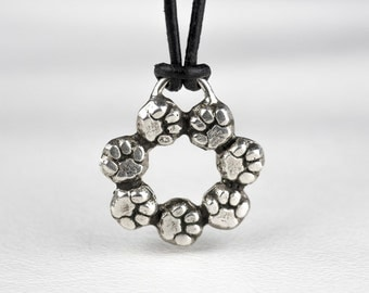 Pawprint Paw Necklace Sterling Silver Circle Pet Dog Prints