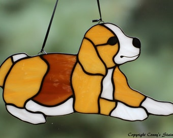 Beagle Stained Glass Suncatcher