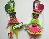 Rottweiler BIRTHDAY ornaments DOG ornaments vintage style chenille ORNAMENTS set of 2