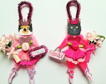 Calico & Black Kitty Cat BALLERINA Princess ornaments Ballet CAT ornaments vintage style chenille ORNAMENTS set of 2