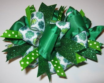 Funky Loopy Green & White St. Patrick's Day Boutique Hair Bow READY TO SHIP