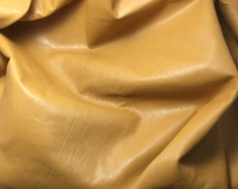 "MUSTARD GOLD Supple Lambskin Leather Hide 12""x12"" Piece 1 Square Foot"