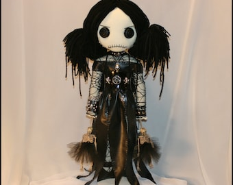 OOAK Hand Stitched Rag Doll With skeleton ballerinas Creepy Gothic Folk Art by Jodi Cain Tattered Rags