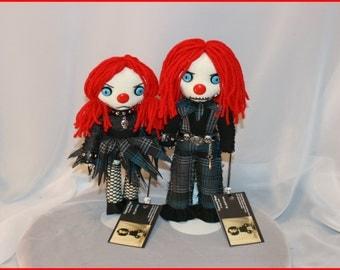 Set Of Two OOAK Hand Stitched Mini Clown Rag Dolls Creepy Gothic Folk Art By Jodi Cain Tattered Rags