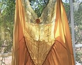 Vintage Mid Century Nylon Nightgown Long Large Peach Lace
