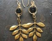 Black Tourmaline Dangle Earrings Wire Wrap Earrings Raw Gemstone Earrings Rustic Jewelry DanielleRoseBean Leaf Earrings Drop Earrings