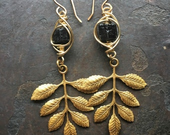 Black Tourmaline Dangle Earrings Wire Wrap Earrings Raw Gemstone Earrings Rustic Jewelry DanielleRoseBean Leaf Earrings Drop Earrings