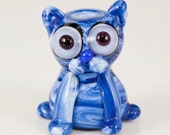 Streaky Blue Kitty Cat Lampwork Bead