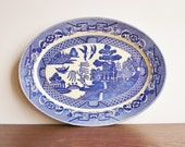 Vintage Blue Willow serving platter, JAPAN