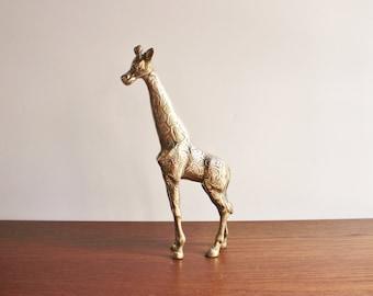 Vintage large brass giraffe