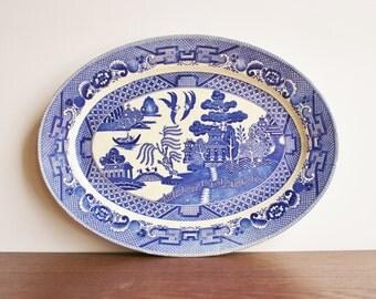 Vintage Blue Willow serving platter, JAPAN