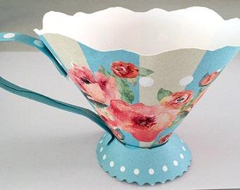 Instant download, paper tea cup, tea party decor, wedding, bridal shower favor box, baby shower decor, shabby chic tea cup