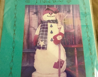Felt Snowman Standing Doll Pattern  42 inches tall, Uncut Vintage  Decoration