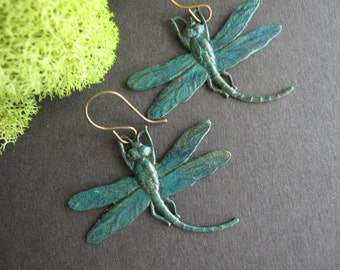 Dragonfly Earrings, Bug Earrings, Insect Jewelry, Patina Dragonfly, Turquoise Blue, Nature Inspired, Woodland Earrings, Gifts For Her