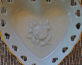 Lenox Roses Heart Dish with Pierced edges