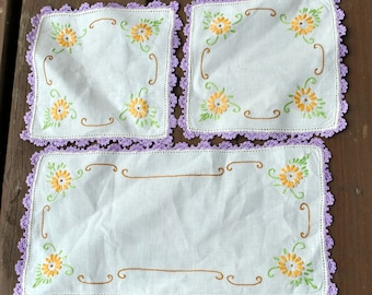 Vintage Embroidered Set of Doilies - Yellow Flowers, Green Leaves, Brown Accents - Purple Crocheted Edging - Chair Covers