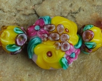 Glass Lampwork Beads, Garden Flowers, Rose Buds, Yellow Pink SRA #278 by CC Design