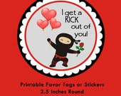 Ninja Valentine Tag, Instant Download Tags or Stickers --- Digital File of 12 2.5 inch Round Stickers or Tags