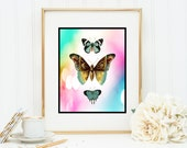Butterflies in blue Instant Digital Download DIY Print yourself butterfly