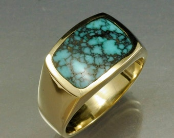 Yellow Gold High Grade Spider Web Turquoise Inlay Ring