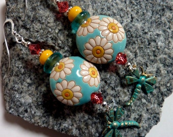 Daisies and Dragonflies Earrings, Aqua Yellow Handcarved Beads, Flowers Spring Summer Fun