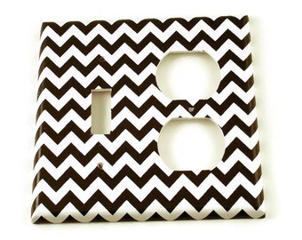 Combo Light Switch Cover Wall Decor Switchplate Switch Plate in  Black Chevron  (150TOC)