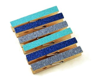 Glittered Clothespin  Clips  Decorative  Wooden Clothespins in Icy Blues