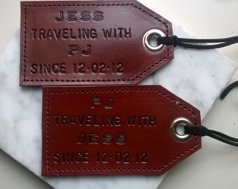 Featured in Country Living - 3rd Anniversary - Leather - His and Hers - Traveling with... since, set of 2 Luggage Tags