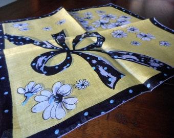 VINTAGE White Daisy Flower on Yellow & Black with Bow Handkerchief
