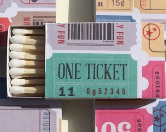 10 Wedding Party Favors Matchboxes movie ticket admit one movie lover cinema theatre theater