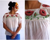 Vintage Hand-stitched Gauzy Boho Blouse with Pink Floral Embroidery | Small