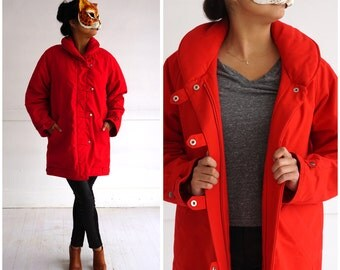 Vintage 1970's Bright Red Puffy 3/4 Length Parka Jacket by White Stag | Medium/Large