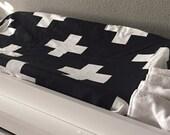 Crib Sheet, Changing Pad Cover, Crib Bedding, Baby Bedding in Large Swiss White Cross on black Cotton Crib Sheet