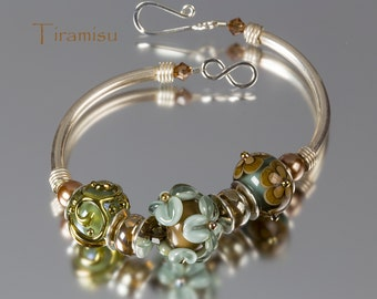 Handmade Lampwork Bracelet by BluDragonfly SRA - Tiramisu Lampwork Bracelet