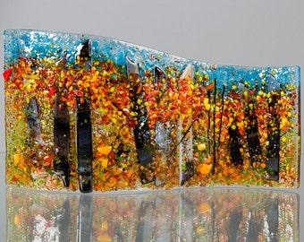 Fused Glass Decorative Panel - BluDragonfly SRA - Fall Scene - Medium Glass Panel