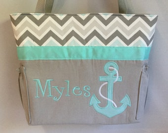 CHEVRON Aqua Mist ZOOM .... ANCHOR   ... Personalized Diaper Bag  .. Bottle Pockets