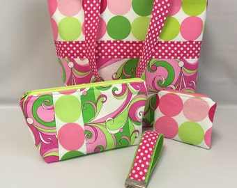 Groovy SWIRLS and Disco DOTS  ...  Medium Size TOTE with Accessory Set .. Handbag ... Retro
